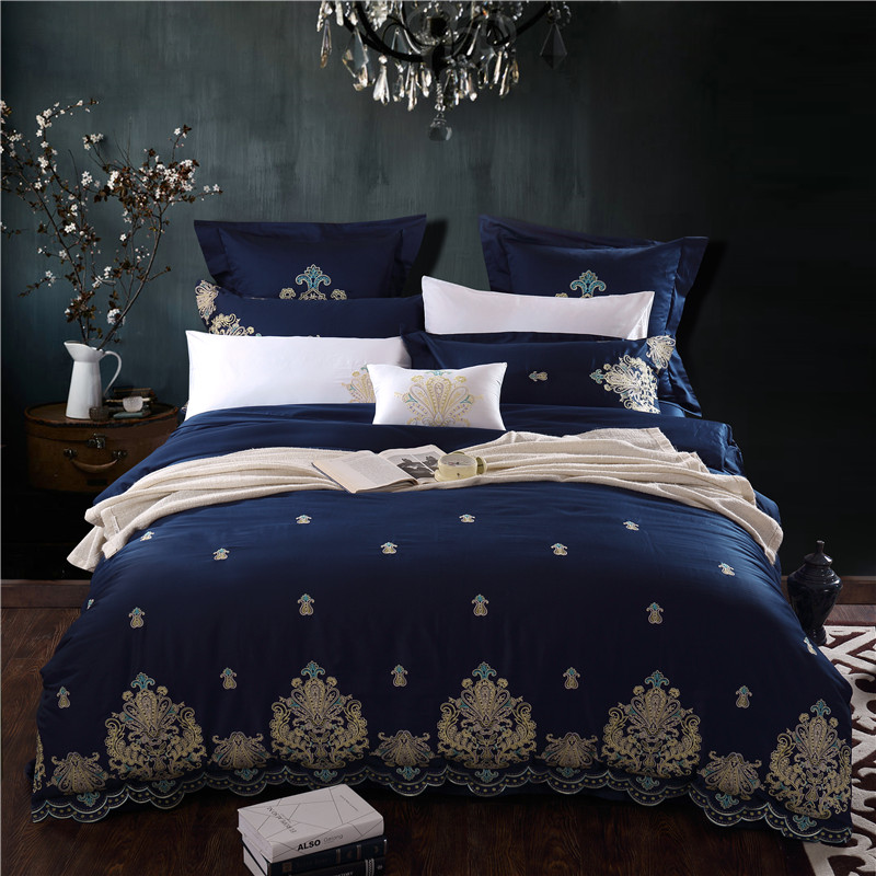 Egyptian cotton Embroidery blue Luxury Bedding Set 4/6/9Pcs King Queen size Bed set Duvet Cover Fit sheet set Pillowcase