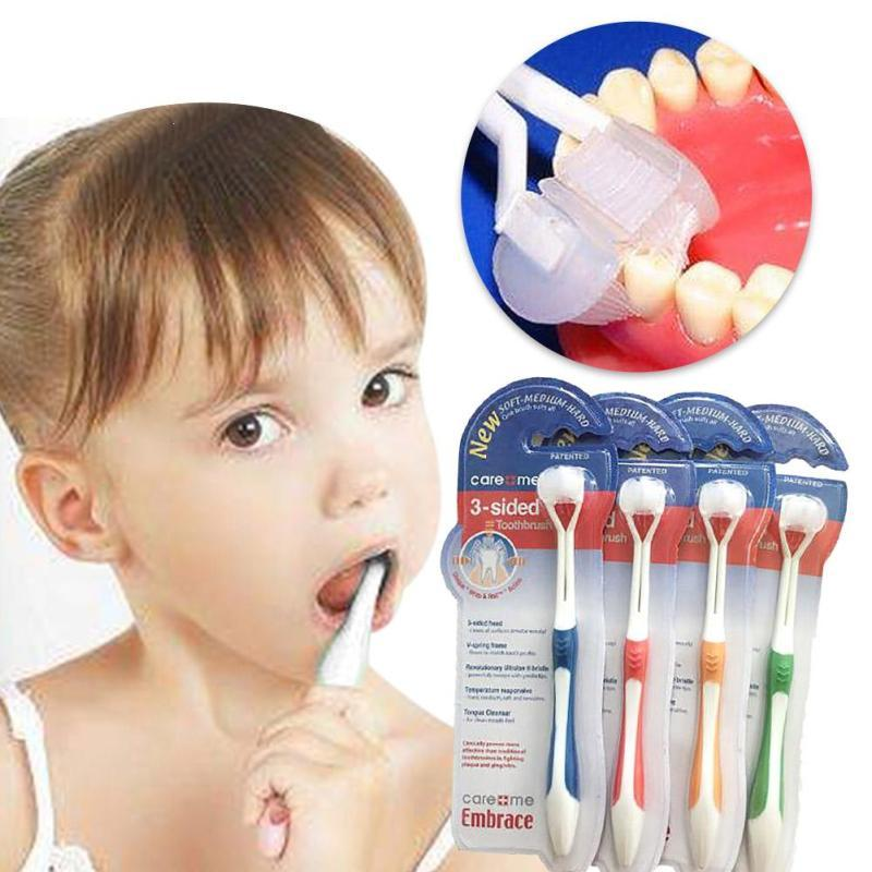 3 Sided Ultrafine Soft Bristle Kids Toothbrush 15.2cm Kids Cleaning Brush Health Baby Teething For 4 Colors