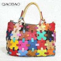 QIAOBAO 100% Bolsas de Couro Bolsas De Couro Das Mulheres Colorido Knitting Ladies Meninas Macio do Couro Genuíno Ombro Saco Ladybag