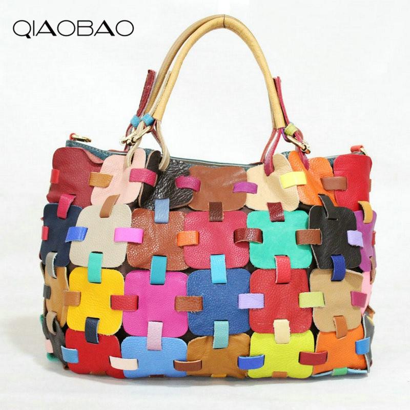 QIAOBAO 100% Cowhide Leather Bags Women Colourful Knitting Ladies HandBags Girls Soft Genuine Leather Shoulder Bag Ladybag