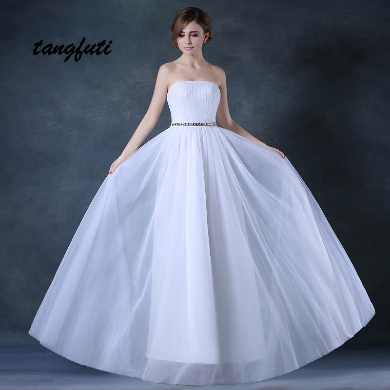 Simple A Line Wedding Dresses Sleeveless Lace Up Strapless