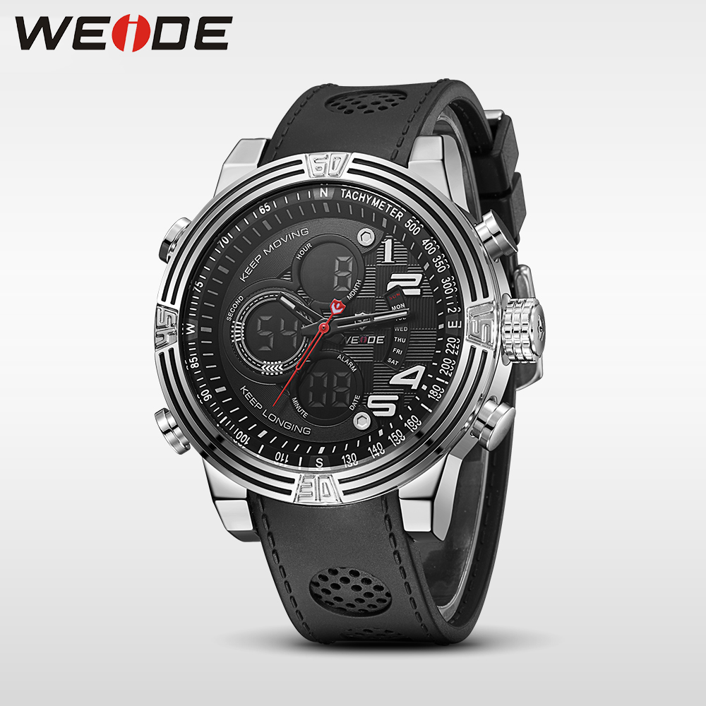 WEIDE 2017 New  Quartz Casual Watch Army Military Multiple Time Zone Sports Watch Waterproof Back  Alarm Men Watches alarm Clock weide casual genuin brand watch men sport back light quartz digital alarm silicone waterproof wristwatch multiple time zone