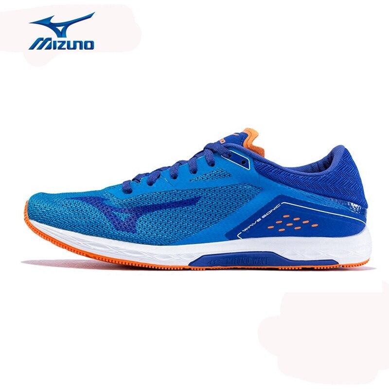 Mizuno Men's Sonic Running Shoes Light Breathable Sneakers Cushion Stability Sports Shoes J1GC173436 XYY049 mizuno men rebula v3 ag professional cushion soccer shoes sports shoes comfort wide sneakers p1ga178603 yxz069