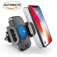 Qi Wireless Car Charger Automatic Infrared Sensor Fast Charging Air Vent Outlet Phone Holder for iPhone 8/8 Plus/X Samsung S8 S9