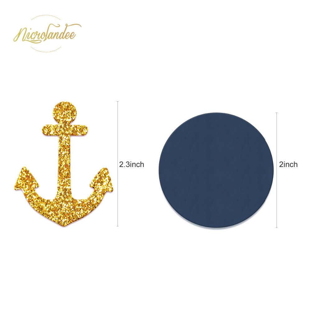 NICROLANDEE 38 pçs/set New Navy Blue Anchor Flor PomPom De Papel De Feliz Aniversário Balões Decoração Do Partido DIY