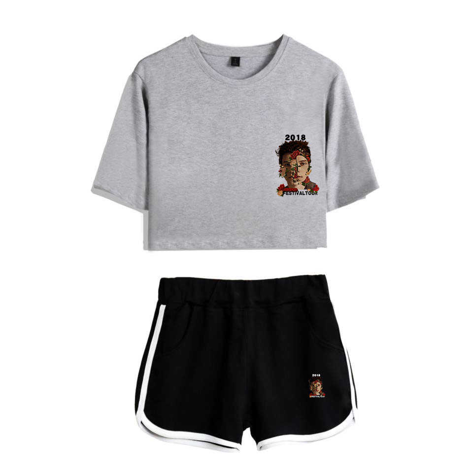 Комплект из двух предметов 2018 летняя хлопковая Футболка с принтом альбом KPOP женский костюм шорты укороченный Топы + шорты Шон Мендес набор