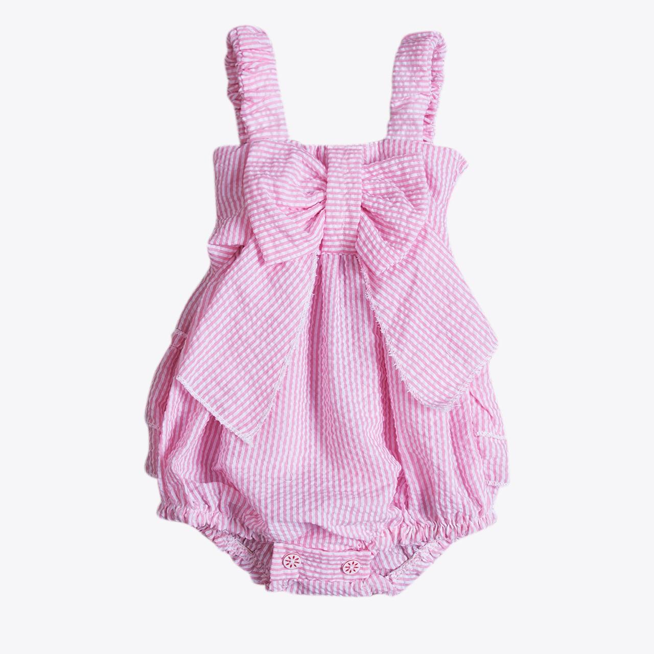 Розовый комбинезон с рюшами на бретельках для новорожденных девочек; летняя одежда; комплект одежды; розовый комбинезон с рюшами на бретеля...