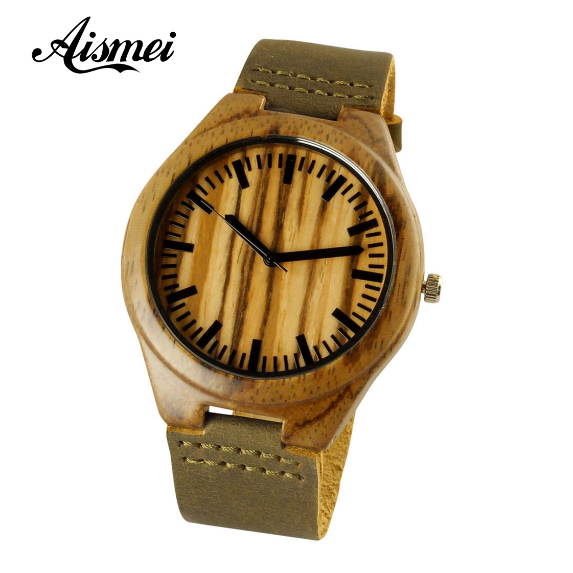 2018 Fashion Wood Quartz Watch Analog Genuine Leather Band New Arrival Handmade Wooden Wristwatch for Men Women Creative Gift