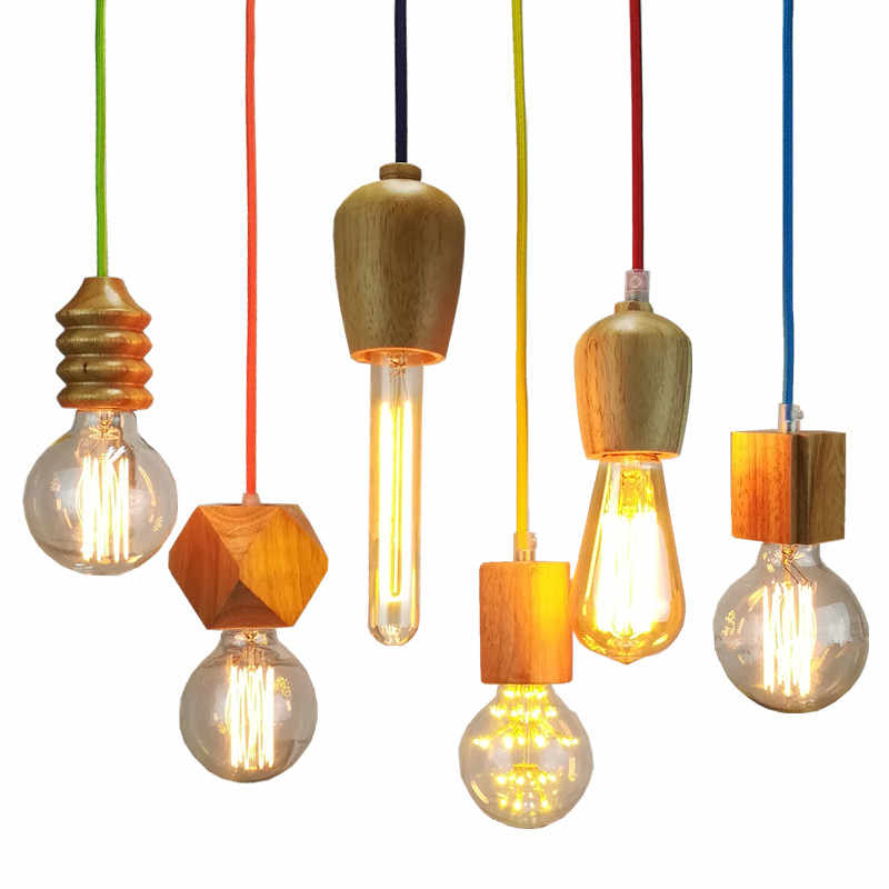 Vintage pendant light Wood Retro lamp colorful socket LED modern new indoor Hanging decoration light fixture AC110-265V NO bulb