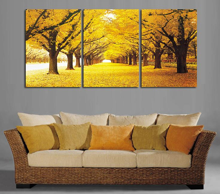 Modern landscape 3 pieces oil paintings on canvas wall art yellow ...