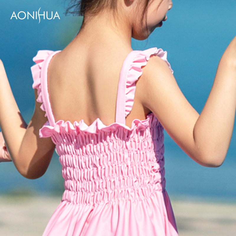 AONIHUA one piece suits Sweat Girl Pink Skirt With Bow Tie Decorate Swimsuit Girls Travel Beach Batching Suit 2 12 Years in Children 39 s One Piece Suits from Sports amp Entertainment