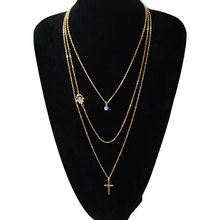 2019 Creative Cross Pendant Long Chain Necklace Blue Eyes Palm Beads Multilayer Choker Necklace Jewelry long blue ribbon choker necklace