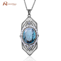 925 Sterling Silver Pearl Pendant Necklace Jewelry Carved Handmade Blue CZ Stone Crystal Wedding Accessories Hamsa Hand Pendant