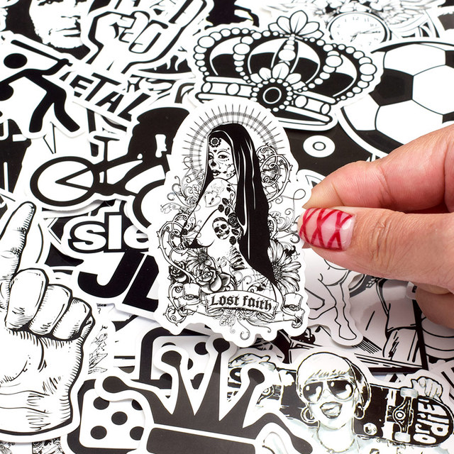 Mixed Black and White Sticker 150pcs