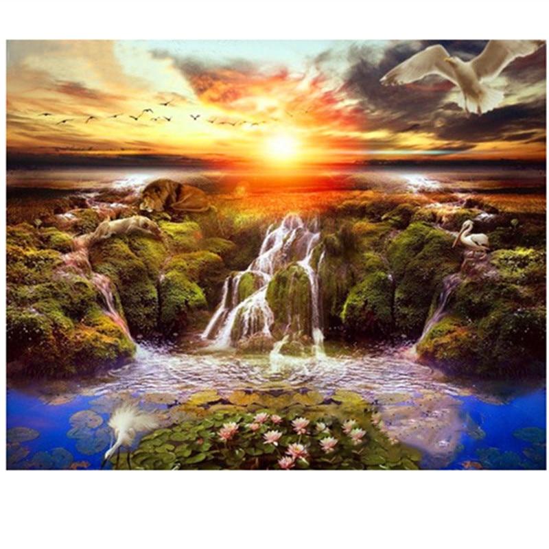Full diamond embroidery landscape 5d diamond painting crystal rhinestone cross stitch diy diamond mosaic Sunset River scenery