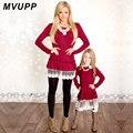 Mamá y yo vestidos de moda MVUPP madre hija vestidos de encaje retazos rojo sólido manga larga familia ropa a juego túnicas