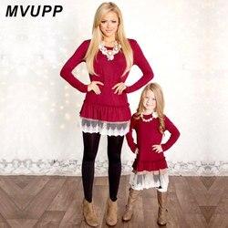 Mamãe e eu moda mvupp mãe filha vestidos de renda retalhos vermelho manga longa família roupas combinando túnicas natal