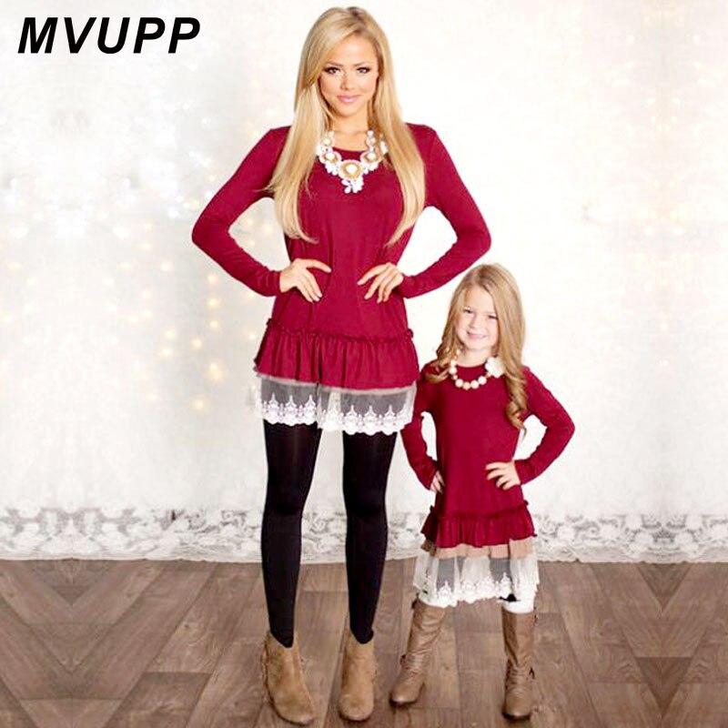 Mama und Mich Mode MVUPP mutter tochter kleider Spitze Patchwork Rot langen ärmeln Familie Passenden Kleidung TUNIKEN weihnachten