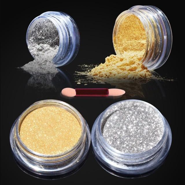 Beau Brillos gel de uñas espejo Polvos de maquillaje oro plata ...