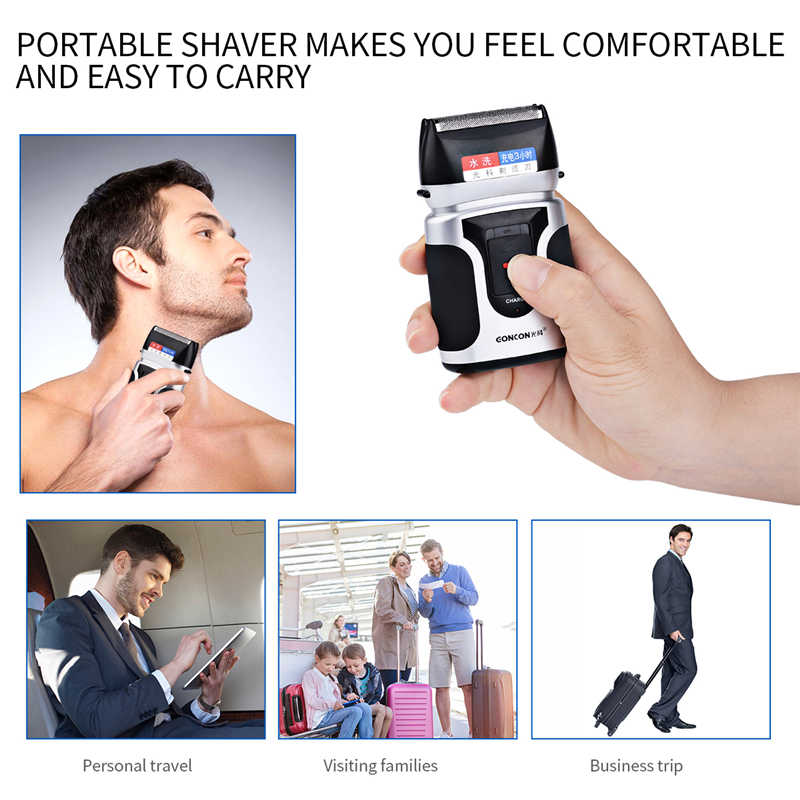 Reciprocating Double Blade Electric Shaver Rechargeable Quick Charge 3 Hours Electric Razor For Men Face Beard Shaving Machine