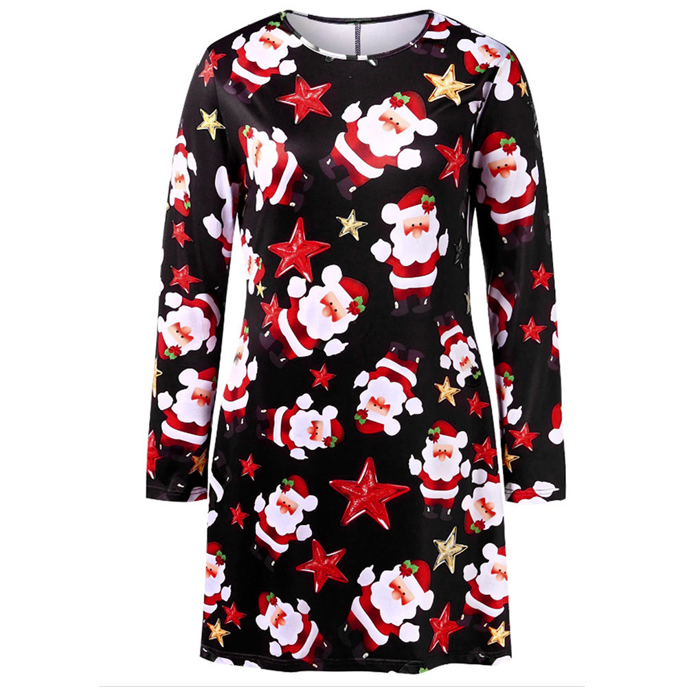 ISHOWTIENDA Fashion Women dress vestidos Merry Christmas Panel Santa Claus  Print Long Sleeves Dress kleider damen 7b9500b1de2d
