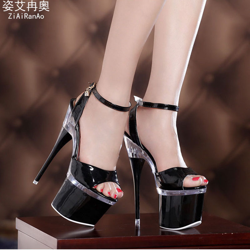 Summer 8CM Platform Sandals Buckle Nightclub Sexy Shoes Woman Sandal Transparent Crystal 18 CM High Heels Party Women Pumps dhl free shipping lcd screen lp156wh4 brand new a for dell for lg for lenovo for samsung laptop