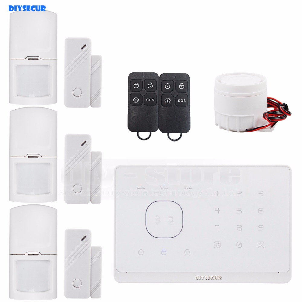 DIYSECUR Wireless&Wired GSM Home Security Burglar Alarm System + IOS/ Android App Touch Panel kerui wireless wired gsm voice burglar home house security alarm app control tft touch panel wireless smoke detector pir sensor