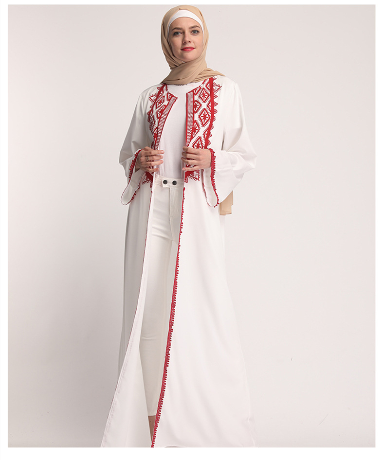 White Open Abaya Moroccan Kimono Dubai Turkey Turkish Bangladesh Islamic Clothing Lace Kaftan Arabic Cardigan Muslim Robe 2019