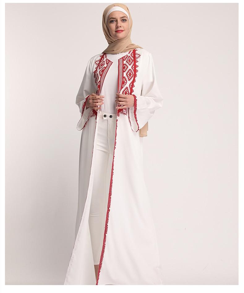 White Open Abaya Moroccan Kimono Dubai Turkey Turkish Bangladesh Islamic Clothing Lace Kaftan Arabic Cardigan Muslim Robe 2019