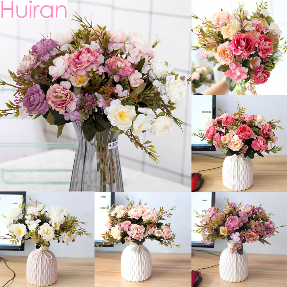 Huiran 1Bouquet Silk Artificial Peony Decoration Flowers Home Fake Flower Plastic