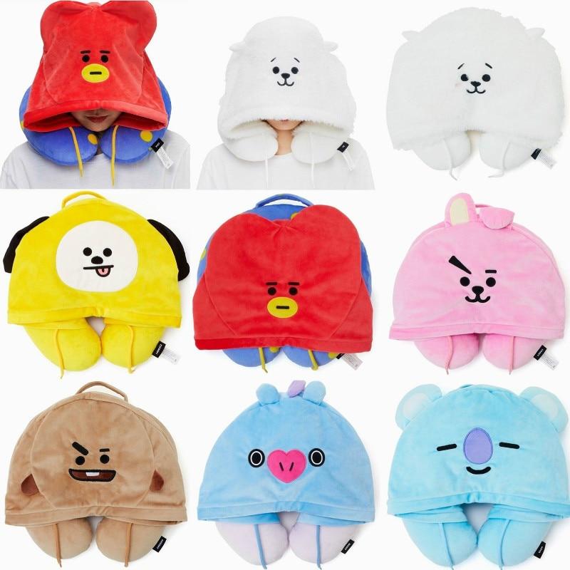 Painstaking Shineheng K-pop Bts U Type Pillow Cute Bt21 Plush Hat Q Version Hooded Cartoon Neck Cushion Stuffed Animal Toy Gift