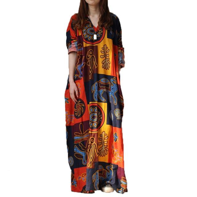 2019 Spring new long cotton dress original literary women's V collar creative oversize  XXL oversized robe