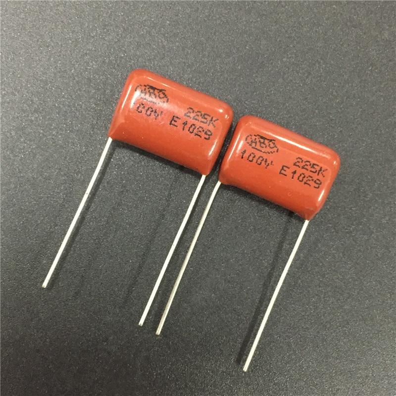 10pcs 100V 225 K 2.2uf 2200nf 2200000pf P15 CL21 CBB metal film capacitor