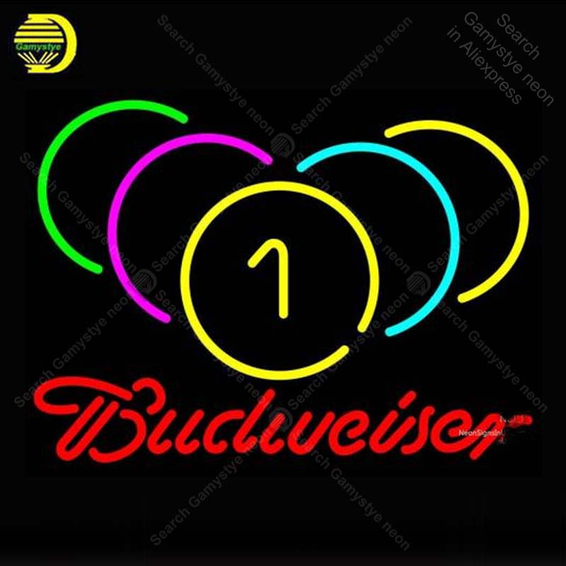 Neon Sign for Budweiser Neon Billiards Rack Pool Neon Bulb sign Beer Bar Pub Restaurant handcraft glass tube light Decor lamps