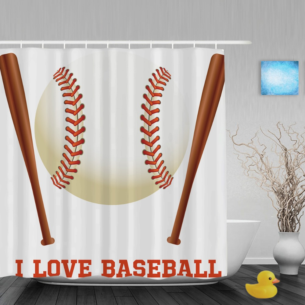 Sports shower curtain - Personalized I Love Baseball Decor Shower Curtain Custom Sports Bathroom Shower Curtains Polyester Waterproof Fabric With