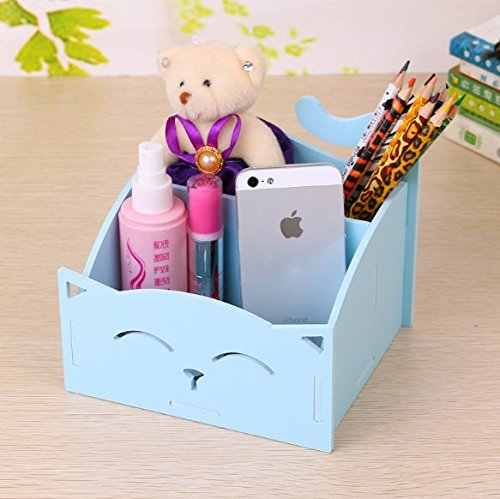 Blue DIY Cute PVC Cat Desktop Organizer Home/Office Supplies Storage Holder Decor for Pen/Pencil/Glasses/Cosmetics/ Stationery