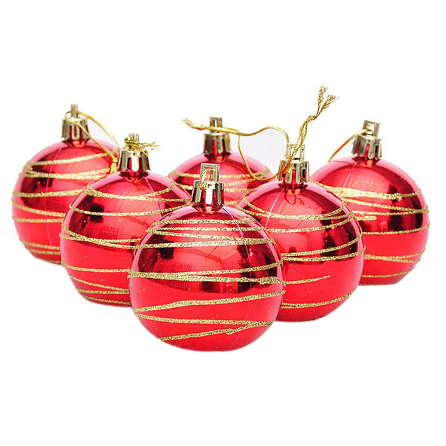 6pcs christmas tree balls diameter 6cm striped color drawing decorations ball xmas party wedding ornament