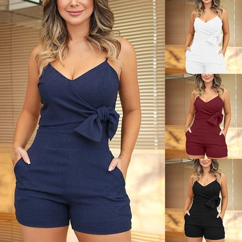 2019 Summer Spaghetti Strap Party Romper Sexy V-Neck Sleeveless Short   Jumpsuits   Women Bowknot Design Solid Playsuits