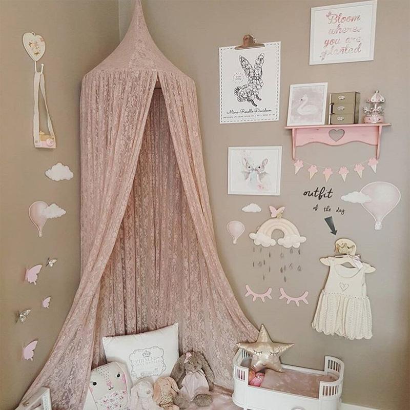 elegant dentelle moustiquaire enfants princesse pendaison dome lit a baldaquin decor bebe filles rideau literie chambre fille ciel de lit s4