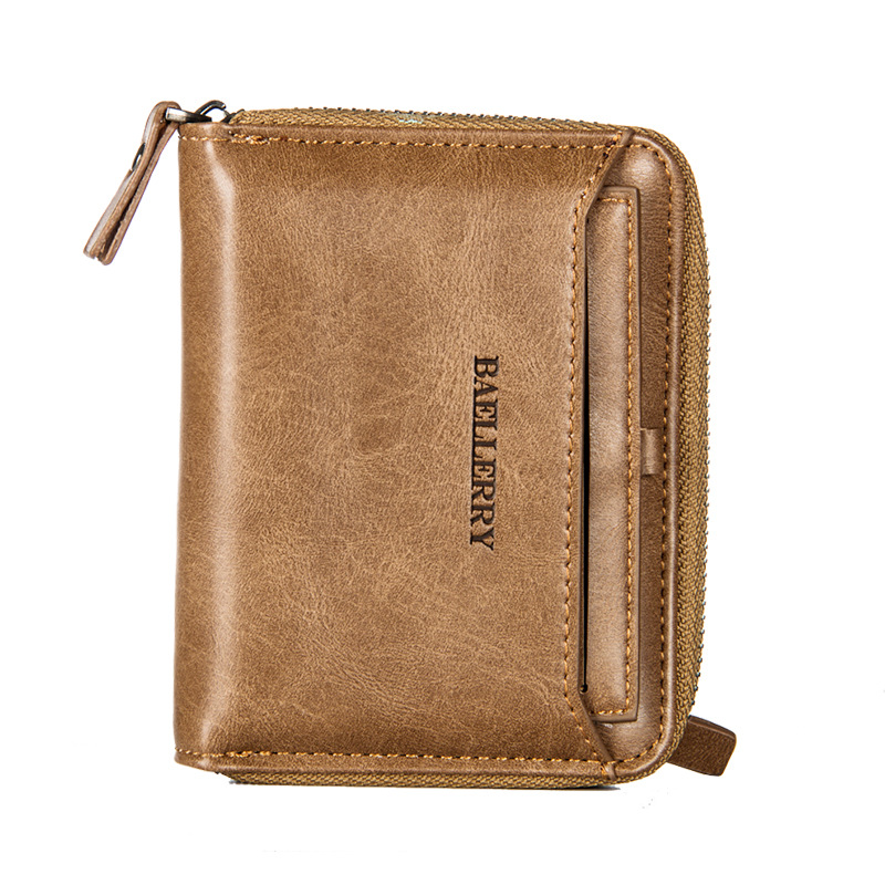 baellerry Wallet male short paragraph pu leather cross section zipper young man wallet retro leisure vertical money folder purse