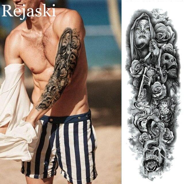 Negro De Brazo Completo Tatuaje Temporal Para Mujeres De Los Hombres