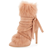 Sexy Real Fur Cover Pointed Toe Women Strappy Bandage Ankle Boots Thin High Heels Fall Dress