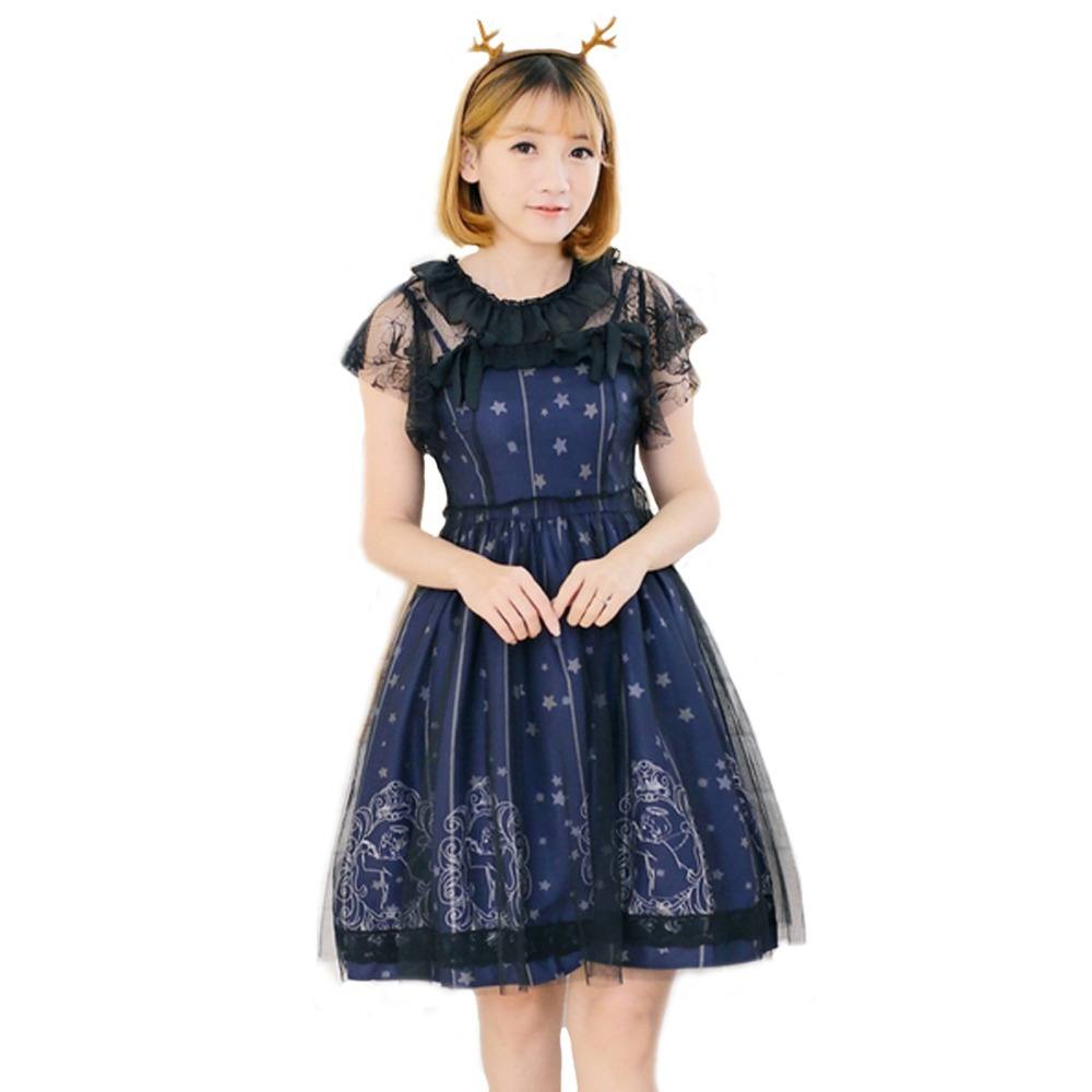 women summer lolita dress cotton lace gothic dress printing princess cosplay costumes for girls two piece outfits