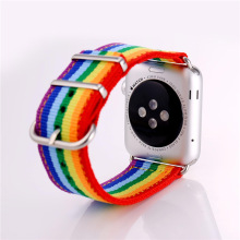 Watchbands For AppleWatch Series 1/2 Rainbow Colorful Watch Strap Denim Fabric 38MM/42MM Watch Band For Women Men APB123
