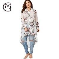 GIYI Plus Size 4XL 5XL Women Clothing Floral Print Chiffon Long Shirt Summer 2017 Long Sleeve White Black Top Loose Blouse Shirt