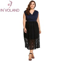 IN'VOLAND Women Lace Patchwork Dress Oversized Summer Deep Sexy V Neck Sleeveles Belted Party Long Dresses Vestidos Full Size
