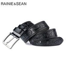RAINIE SEAN Black Pin Belt Men Real Leather Embossed Belts Male Vintage Genuine Cowhide Classic Designer Luxury
