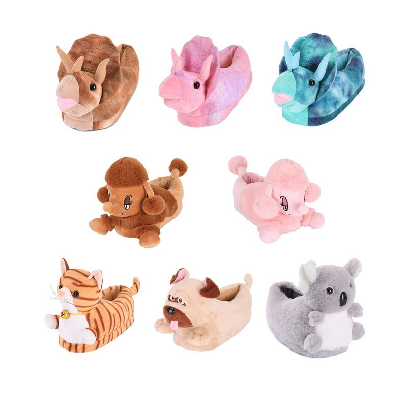 Warm Slippers Creative Colorful Poodle Koala Triceratops Cat Bulldog Shaped Cotton Home Floor Soft Slippers For Children