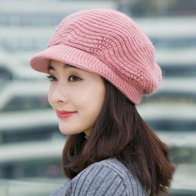 12de7da7da3e0 Sombrero del invierno de las mujeres de punto gorros de moda Color sólido  caliente alcanzó gorros