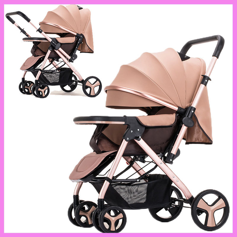 High View Reverse Handle Two-way Push Lightweight Baby Stroller Portable Folding Baby Stroller Travel System Car Pram Pushchair babysing high view baby stroller anti shock portable lightweight stroller easy fold pushchair travel system baby strolly